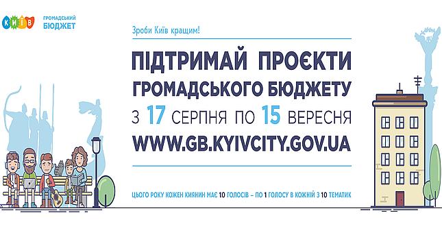 Уже 17 серпня кияни зможуть проголосувати за проєкти Громадського бюджету через Київ Цифровий